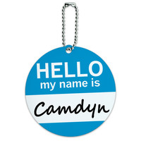 Camdyn Hello My Name Is Round ID Card Luggage Tag