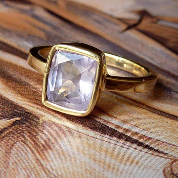 Lavender Cushion Cut Sapphire Ring by kateszabone on Etsy