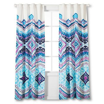 "Boho Boutique Utopia Window Panel - Blue/Fuchsia/ White (84"")"