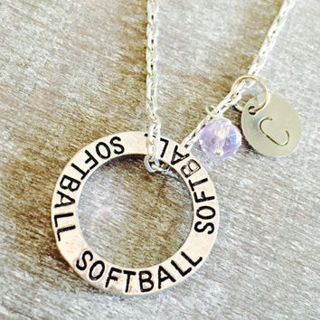 CUSTOM NECKLACE  Silver Plated Necklace, silver Softball necklace, Softball Charm, Washer Necklace, Circle Charm necklace, Personalized