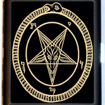 Satanic Pentagram Cigarette Case Business Card Case Wallet Satanism Occult Devil Worshiping Lucifer Satan Satanic Baphomet