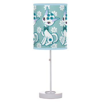 Cute girly Kitty Cat Aqua Blue Table Lamps