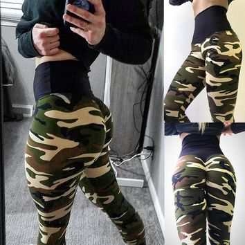 LASPERAL 2018 Sexy Women Camo Print Pants Slim Fit Yoga Running Pants Military Camouflage Legging Trouser High Waist Gym Leggins