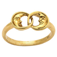 Gold Two Man-in-the-Moon Ring