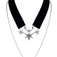 Black Crystal Starfish Drop Fine Chain Detail Collar Necklace