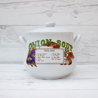 Vintage White Ceramic Soup Tureen Pot with Onion Soup Recipe | Midwest Home Products | Made in China