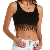 Crocheted Fringe Crop Top by Charlotte Russe