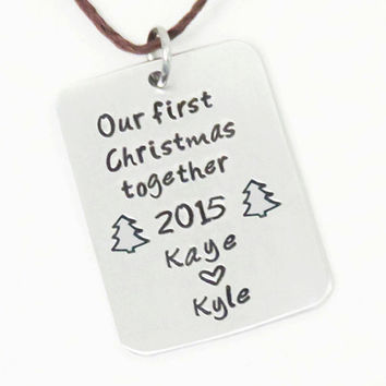 Customized husband and wife first Christmas together ornament - Couple first Xmas ornament for newlyweds 2015