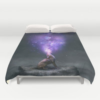 All Things Share the Same Breath (Coyote Galaxy) Duvet Cover by Soaring Anchor Designs