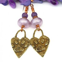 Dog Paw Prints and Hearts Earrings, Lavender Lampwork Purple Amethyst Handmade Jewelry for Women