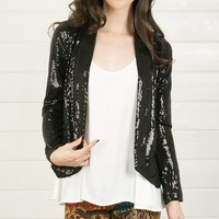 J93546SQ019 Black Sequin Blazer With Leather Back and Shop Apparel at MakeMeChic.com