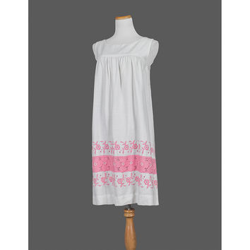Vintage 60s Dress   Floral Embroidered Mexican Dress   1960s Sundress   Sleeveless Pink White Cotton Boho Hippie Festival Dress   Small S
