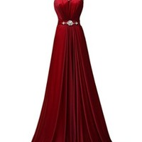 PrettyDresses Women's A-Line Dark Red Round Neck Sleeveless Long Prom Dresses
