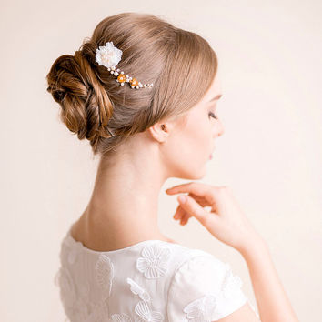 Bridal Hair Accessory - Petite Hair Pin Floral - Bridal Hair Jewelry Headpiece - Bridal Hair Pin with Gold Details and Silk Flower