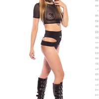 Utopia Crop Top in Black Mesh