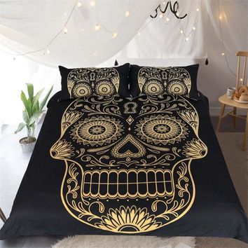 Golden Sugar Skull and Moth Skull 3pc Duvet Set (2 Types)