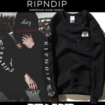 Fashion Casual ripndip hoodie Men Women Hip Hop Religious Jesus Pocket Cat Young Hipsters Couple Hoodie Ripndip Sweatshirts