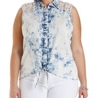 Plus Size Blue Combo Lace & Chambray Button-Up Top by Charlotte Russe