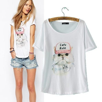 Women's Fashion Lovely Hats Cats Pattern Print Short Sleeve Casual Tops T-shirts [5013380932]