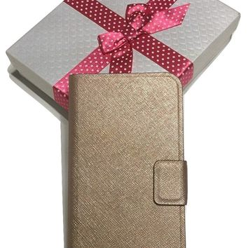 Kate Spade Newbury Lane iPhone 6 Plus Rose Gold Saffiano Leather Cover Folio with Bagity Gift Box