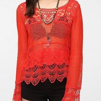 URBAN OUTFITTERS STARING AT STARS CROCHET LACE MIX LONG SLEEVE TOP RED NWT $49