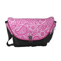 White And Pink Vintage Ornate Paisley Messenger Bag