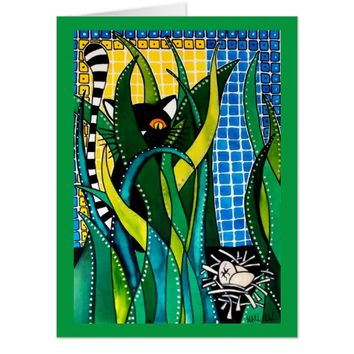 Hunter in Camouflage Whimsical Cat Art Card