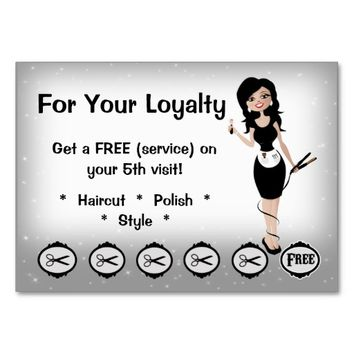 Beauty Salon Loyalty Business Cards Brunette
