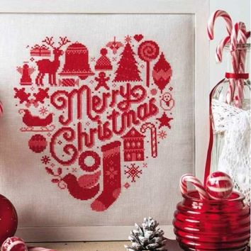 Merry Christmas cross stitch package 18ct 14ct 11ct pearl white cloth DMC cotton silk thread embroidery DIY handmade needlework
