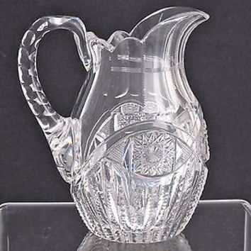 American Brilliant Period small pitcher Cut Glass blown  ABP  Antique