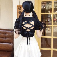 Harajuku Heart Hollow Out Lace Cross Top