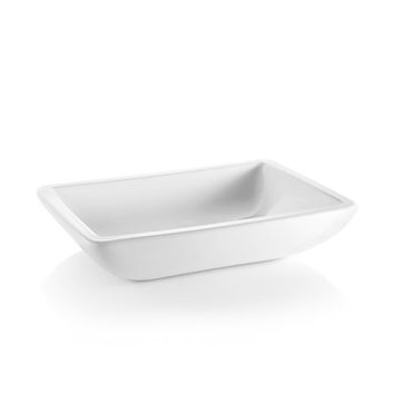 WS Bath Collections Acquaio 53718 Linea Ceramic White 19.7-Inch Rectangular Vessel Sink
