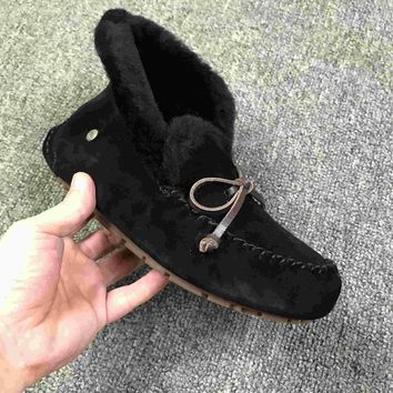 LFMON UGG 4806 Tall TODS Hogskin Sheepskin Women Men Fashion Casual Wool Winter Snow Boots Black