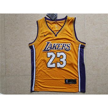 fac11dc8b8f3 LA Lakers  23 LeBron James Yellow Basketball Jersey