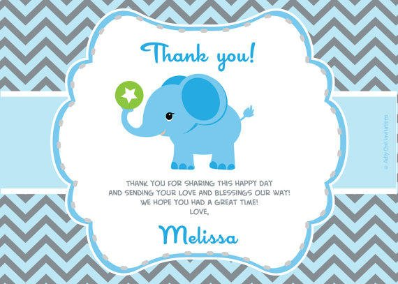boy elephant thank you card with from aoprintablesforkids on etsy