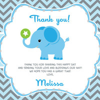 Boy Elephant Thank you Card with Personalization Boy Elephant Baby Shower or Birthday Card DIY - oz01bs1