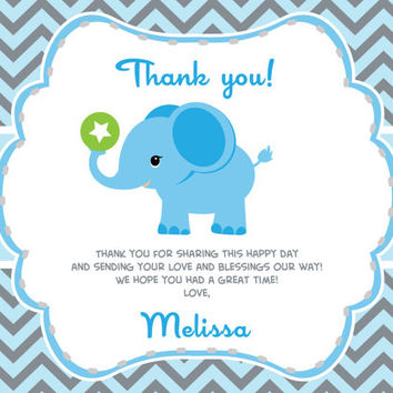 Boy Elephant Thank You Card With Personalization Baby Shower Or Birthday DIY