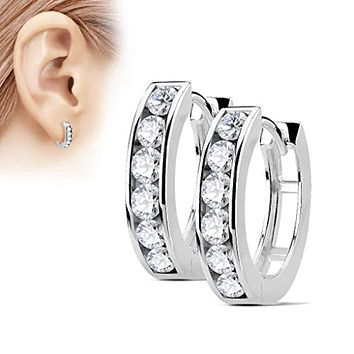 Pair of Channel Set Lined CZ 316L Surgical Steel WildKlass Post Hoop Earrings