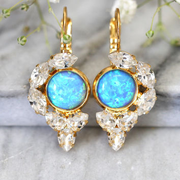 Opal Earrings, Opal Drop Earrings, Swarovski Drop Earrings, Blue Opal Earrings, Gold Opal Earrings, Gift for Her, Opal Jewelry,Opal Droplets