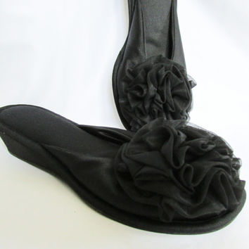 Rosette Slipper Scuffs Vanity Fair Boudoir Shoes Vintage 60s Small
