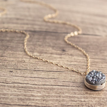 14k Gold Filled Silver Druzy / Drusy Necklace- Wire Wrapped