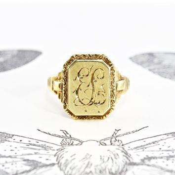 Vintage 14k Signet Ring, Art Deco Yellow Gold Engraved Monogram Initials E.L. Circa 1937, Bold Regal Statement Ring