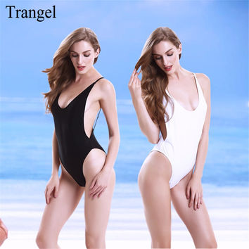 Backless swimwear one piece Swimsuit High Cut Out One Piece Swimsuit  biquinis Women Beach wear Black White Color