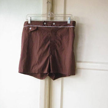 Dark Brown Vintage Swim Trunks; Men's Medium Cotton Blend '70s Swim Shorts w/ White Piping; Front Pocket; Lining; U.S. Shipping Included