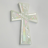 Mosaic Wall Cross, Large, Shades of White + Iridescent Glass + Silver Mirror, Handmade Stained Glass Mosaic Cross Wall Decor, 15 x 10