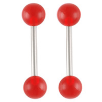 UV Tongue Ring [Gauge: 14G - 1.6mm / Length: 14mm / Ball Size: 6mm] 316L Surgical Steel & Acrylic (Red) // Set of 2