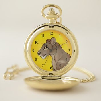 Queen Lioness Pocket Watch