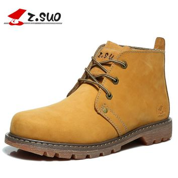 Z. Suo men's boots, brand new solid fashion boots man autumn and winter boots  tooling leather. Sapatos masculinos zs0173