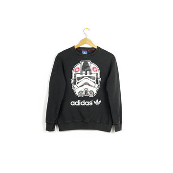 ADIDAS stormtrooper sweatshirt / black & white / crewneck sweater / jumper / mens small