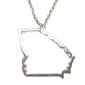 Silver Toned Georgia State Map Outline Pendant Necklace